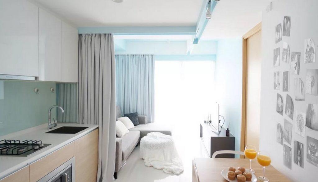 кухня-гостиная зонирование шторы