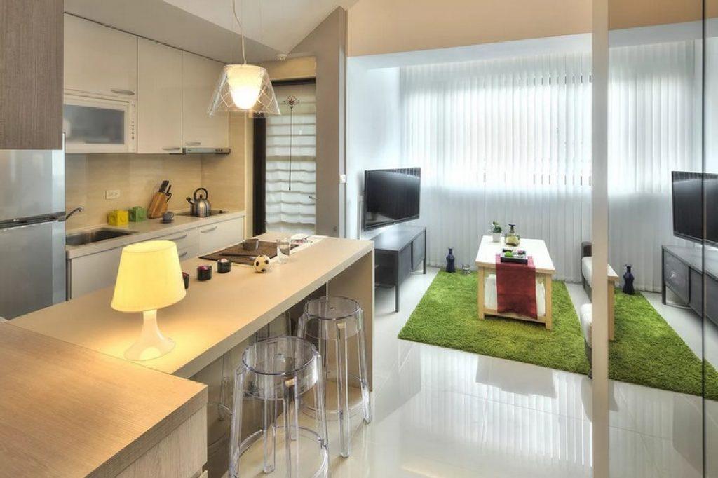 прямоугольная кухня-гостиная
