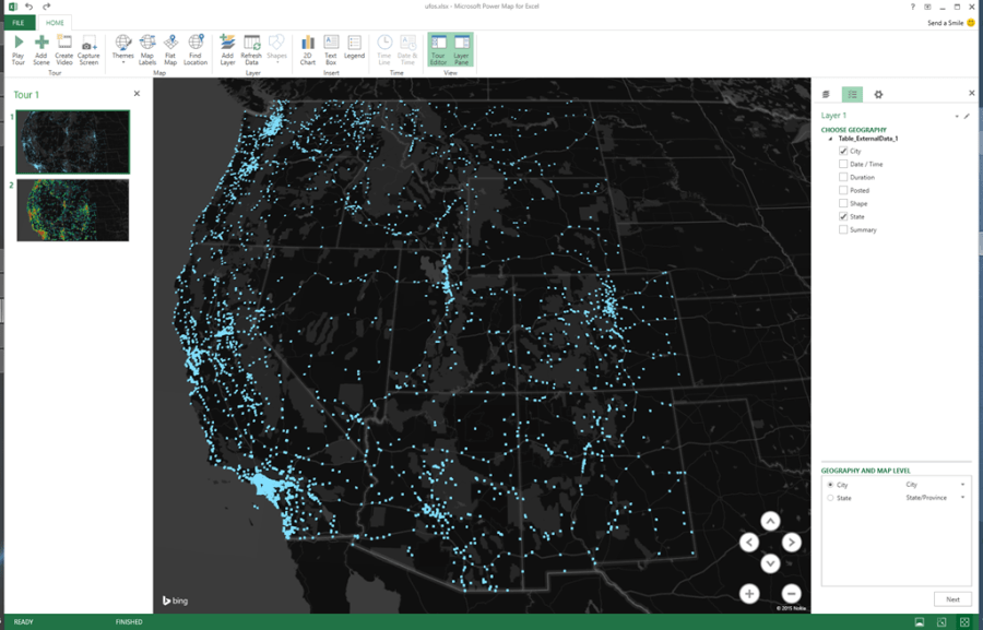 Mapping UFO Sightings in the Western United States with Microsoft     Let s remove the Excel shell so we can just look at the map at night