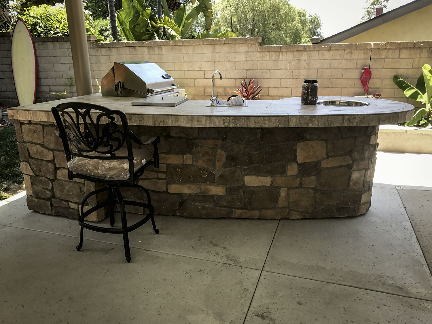 Custom Outdoor Kitchen With Rock Extreme Backyard Designs