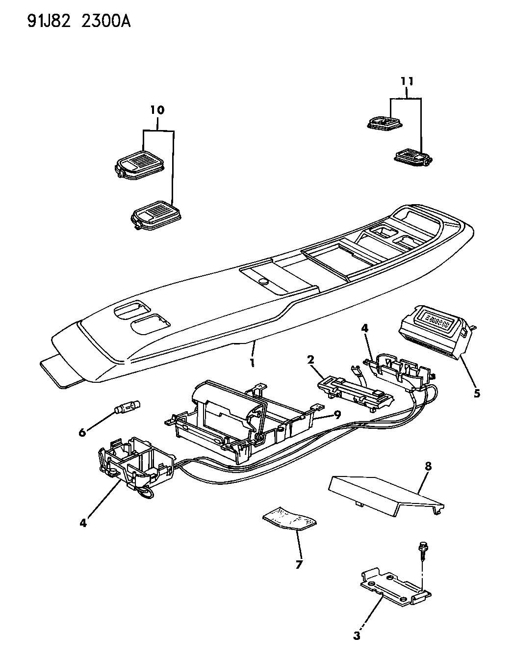 Console Cherokee Jeep Wiring Overhead
