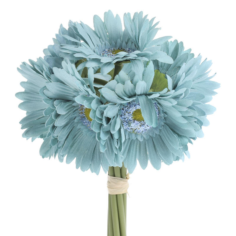 Teal Artificial Gerbera Daisy Bouquet   Bushes and Bouquets   Floral     Compare Size