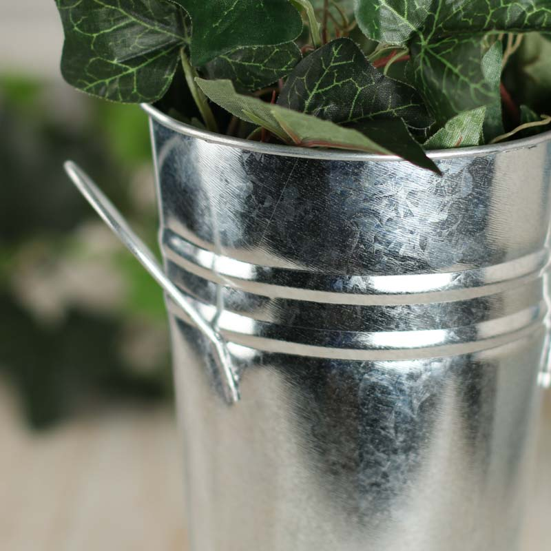 Small Galvanized Metal French Flower Bucket Planters