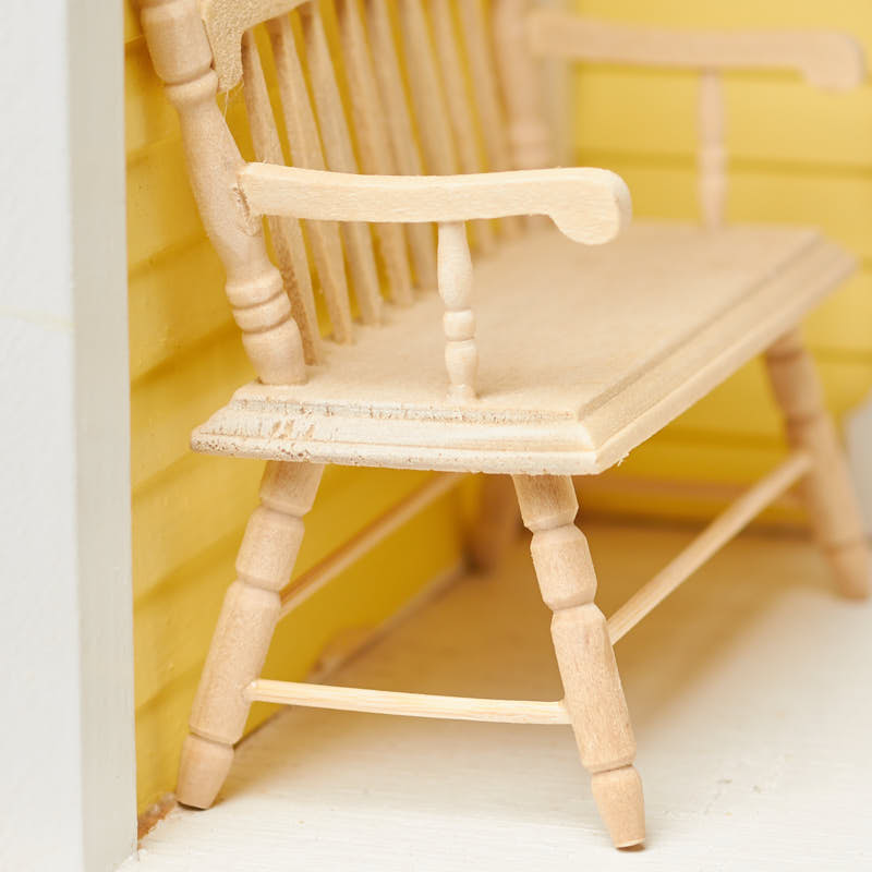 Dollhouse Miniature Unfinished Wood Deacons Bench