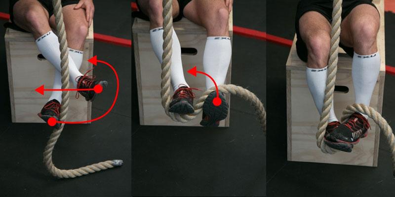 Техника лазания по канату для новичков с упором ног