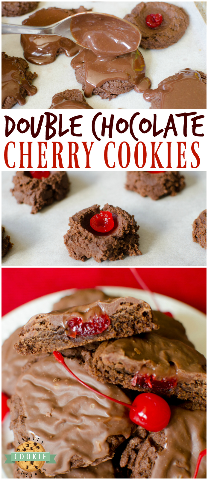 Double Chocolate Cherry Cookies are thick and chewy, complete with a cherry in middle and a delicious fudge topping on top! via @buttergirls
