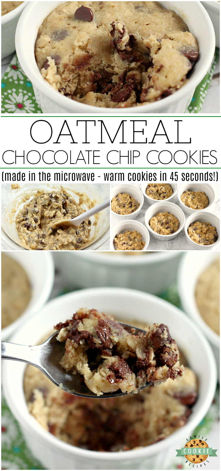 Oatmeal Chocolate Chip Cookies that are ready in less than 5 minutes! This basic oatmeal chocolate chip cookie recipe makes six soft and chewy mug cookies in the microwave - no oven required! via @buttergirls