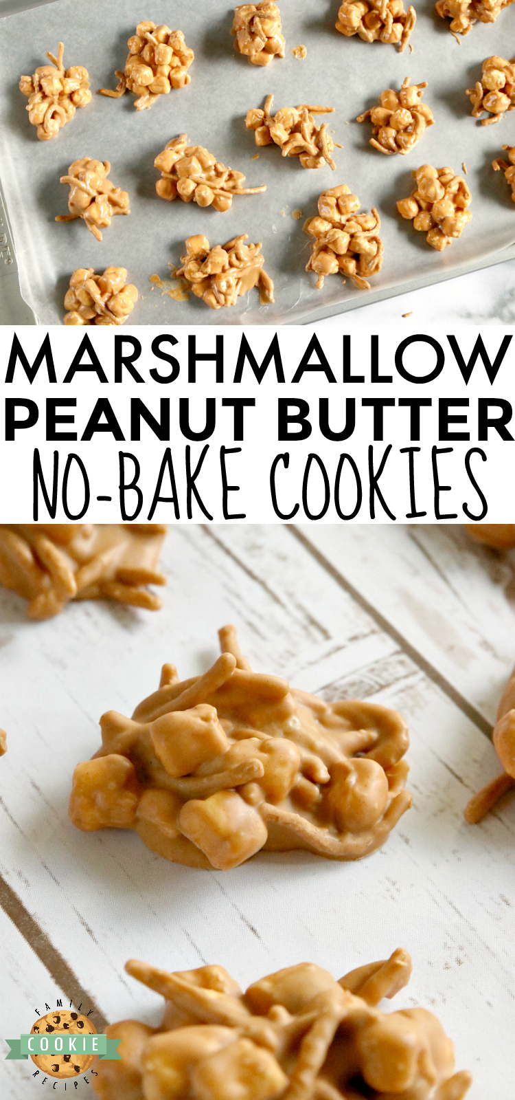 Marshmallow Peanut Butter No Bake Cookies are made with only 4 ingredients - marshmallows, peanut butter, butterscotch chips and chow mein noodles! via @buttergirls