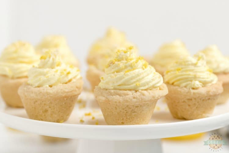 Lemon cream pie cookies are a delicious way to enjoy the tastes of a lemon cream pie without the hassle of pie crust. These lemon cookie cups are easy to grab and go and this lemon cookie recipe makes enough to share.