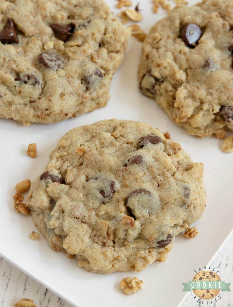 Chocolate Chip cookies made with granola