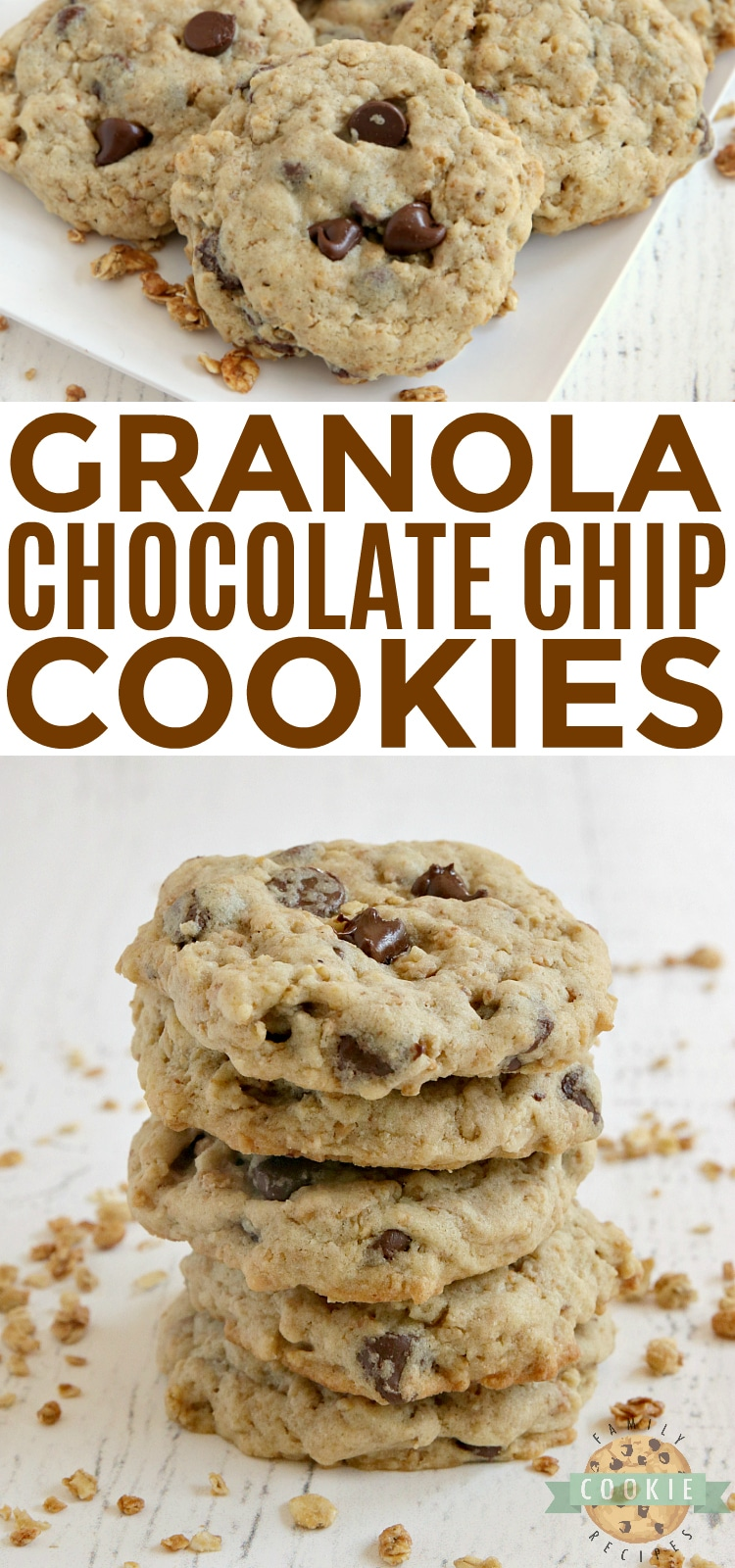 Granola Chocolate Chip Cookies are soft, chewy, full of protein and crunchy granola. With 5 grams of protein per cookie and a little bit of crunch, these have become my new favorite cookie! via @buttergirls
