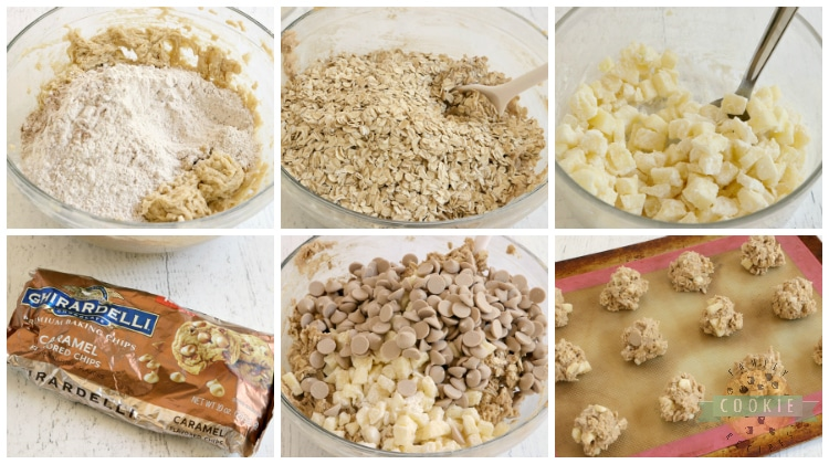 Step by step instructions on how to make oatmeal cookies with apples and caramel chips