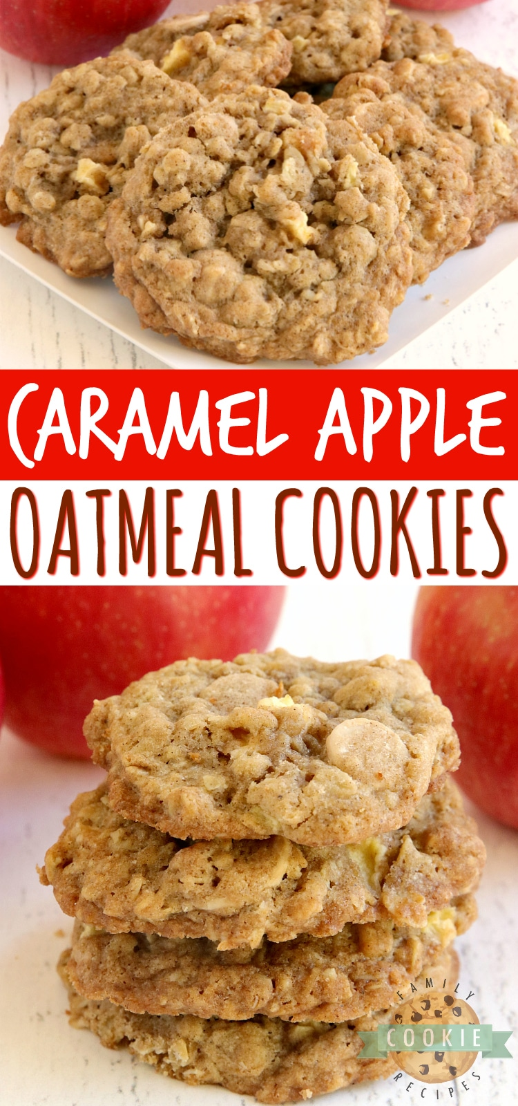 Caramel Apple Oatmeal Cookies are soft, chewy and full of fresh apples and caramel baking chips. Perfect cookie recipe for fall! via @buttergirls