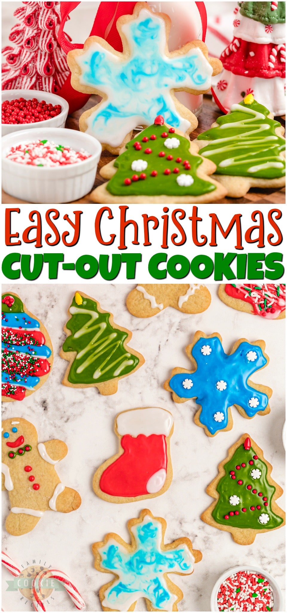 Classic Christmas Cut-Out Cookies perfect for the holidays! Easy sugar cookies for cookie cutters with a simple shiny cookie icing that everyone loves. #baking #cookies #Christmas #cutout #cookiecutters #cookieicing #sprinkles #hollidaybaking #easyrecipe from FAMILY COOKIE RECIPES via @familycookierecipes