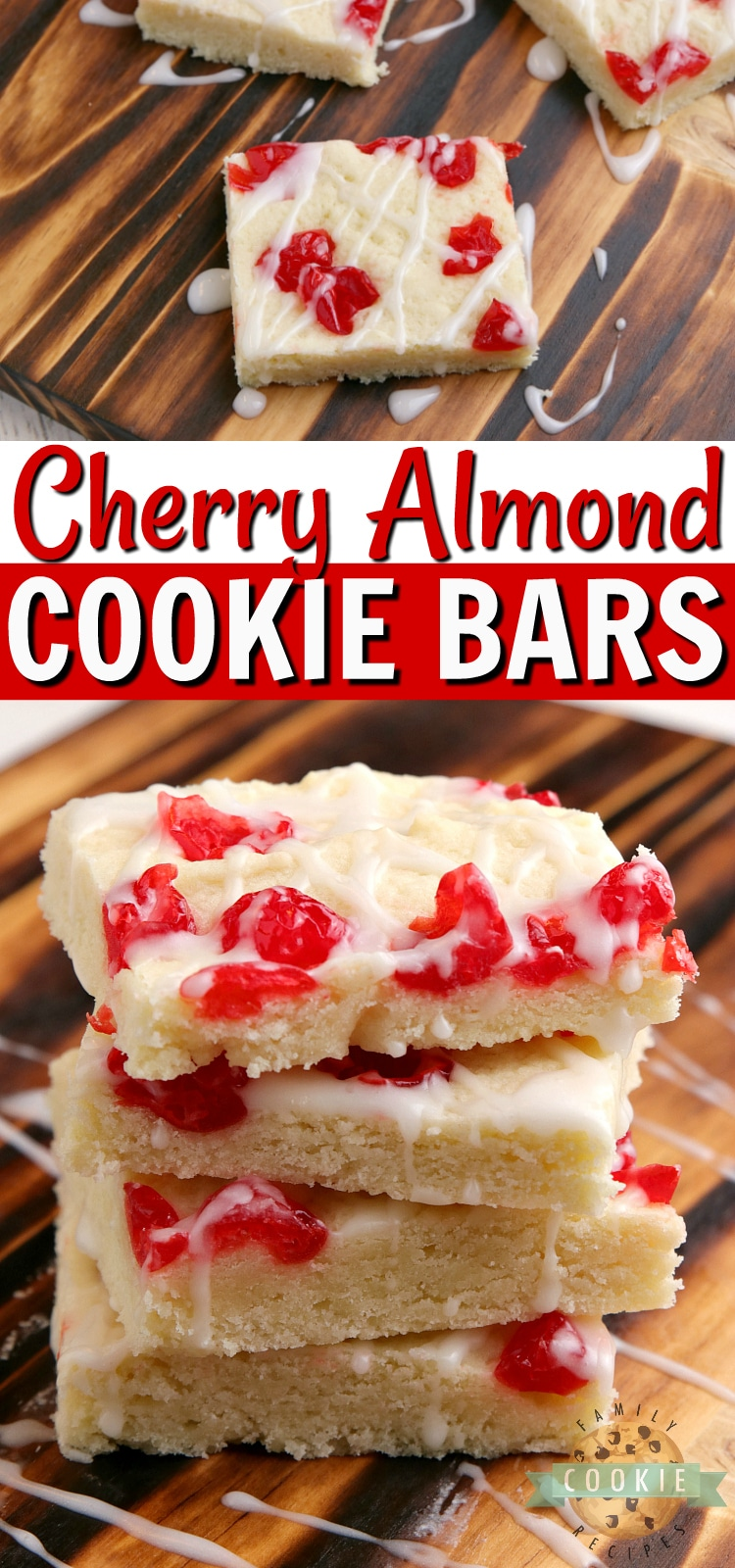 Cherry Almond Cookie Bars are simple cookie bars that fall somewhere between a shortbread and a sugar cookie. This cookie bar recipe is packed with almond flavoring and topped with chopped maraschino cherries and a simple powdered sugar glaze. via @familycookierecipes