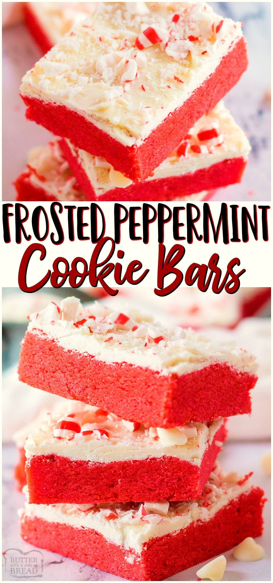 Frosted Peppermint Cookie Barsare festive holiday sugar cookies baked into bars & topped with sweet white chocolate & peppermints! Easy cookie bar recipe with lovely peppermint flavor perfect for Christmas baking.#cookies #bars #peppermint #whitechocolate #baking #holidays #easyrecipe from FAMILY COOKIE RECIPES via @familycookierecipes