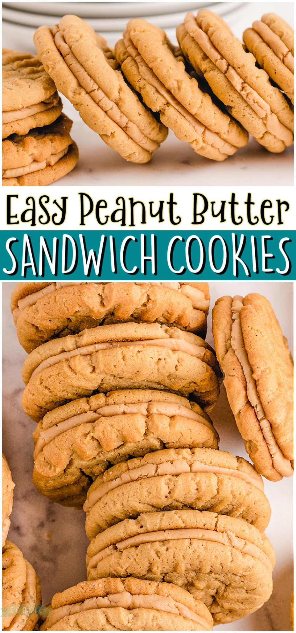 Peanut Butter Sandwich Cookies made with chewy peanut butter cookies & a creamy peanut butter filling. Peanut Butter lovers rejoice! We're sharing our homemade peanut butter cookie sandwiches that everyone goes crazy over! #peanutbutter #cookies #sandwichcookies #creamypeanutbutter #filling #dessert #baking #easyrecipe from FAMILY COOKIE RECIPES via @familycookierecipes