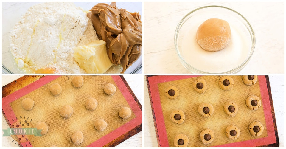 Step by step instructions on how to make Cake Mix Peanut Butter Blossoms
