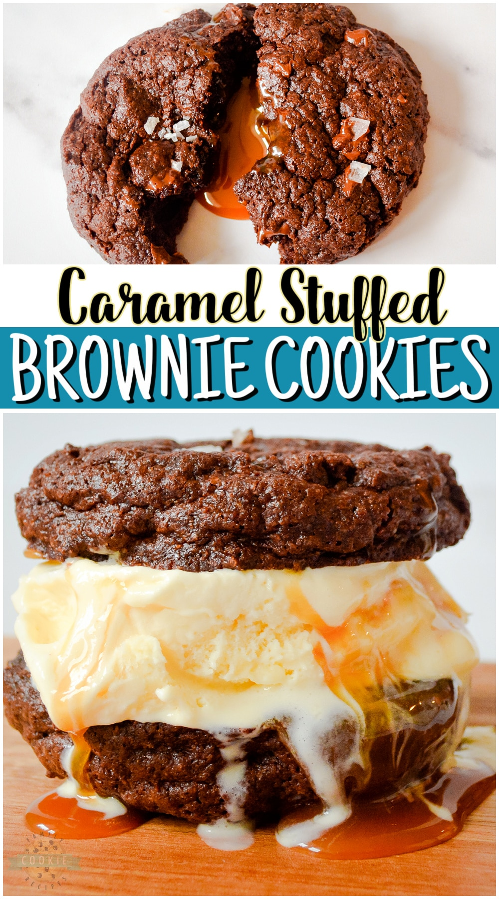 Caramel Brownie Cookies made with a brownie mix & stuffed with buttery soft caramels. Big, indulgent chocolate cookies with great flavors, especially with a sprinkle of sea salt on top! via @familycookierecipes