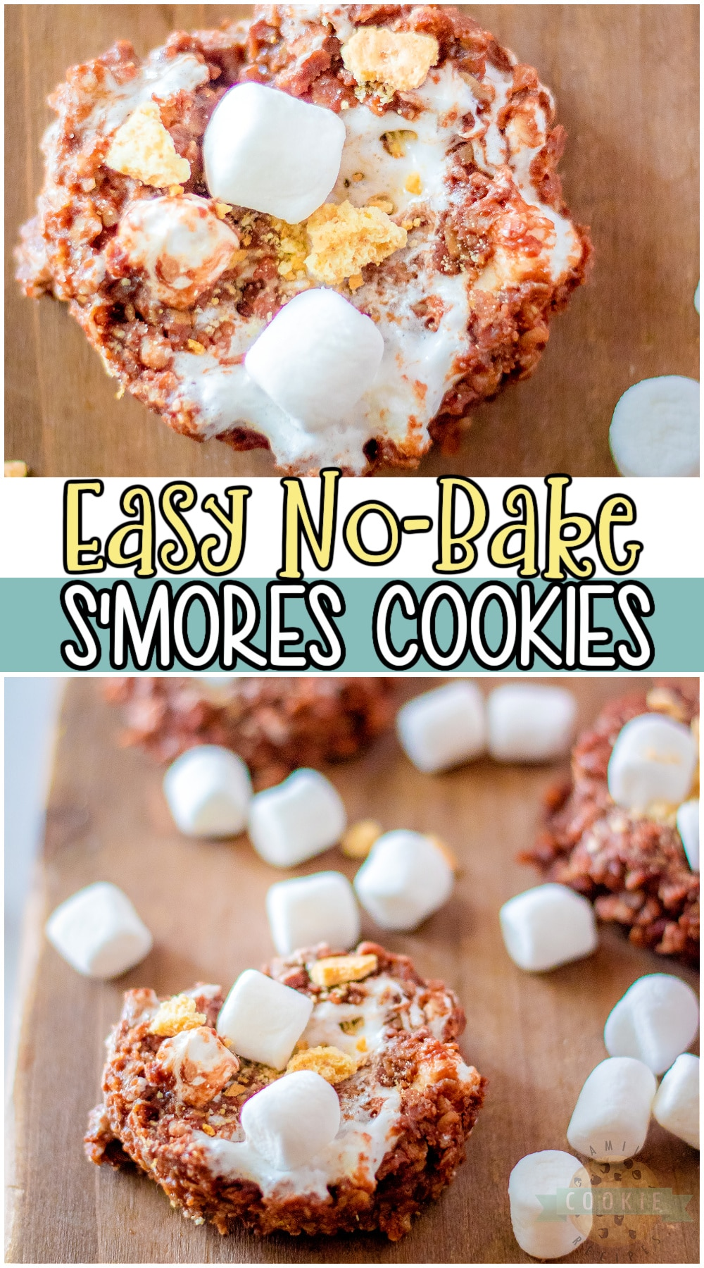 No-Bake S'mores Cookies made with oats, peanut butter, marshmallows & graham crackers! Simple recipe for s'mores fans that's a fun twist on classic no-bake cookies. #nobake #cookies #smores #chocolate #oats #easyrecipe from FAMILY COOKIE RECIPES via @familycookierecipes