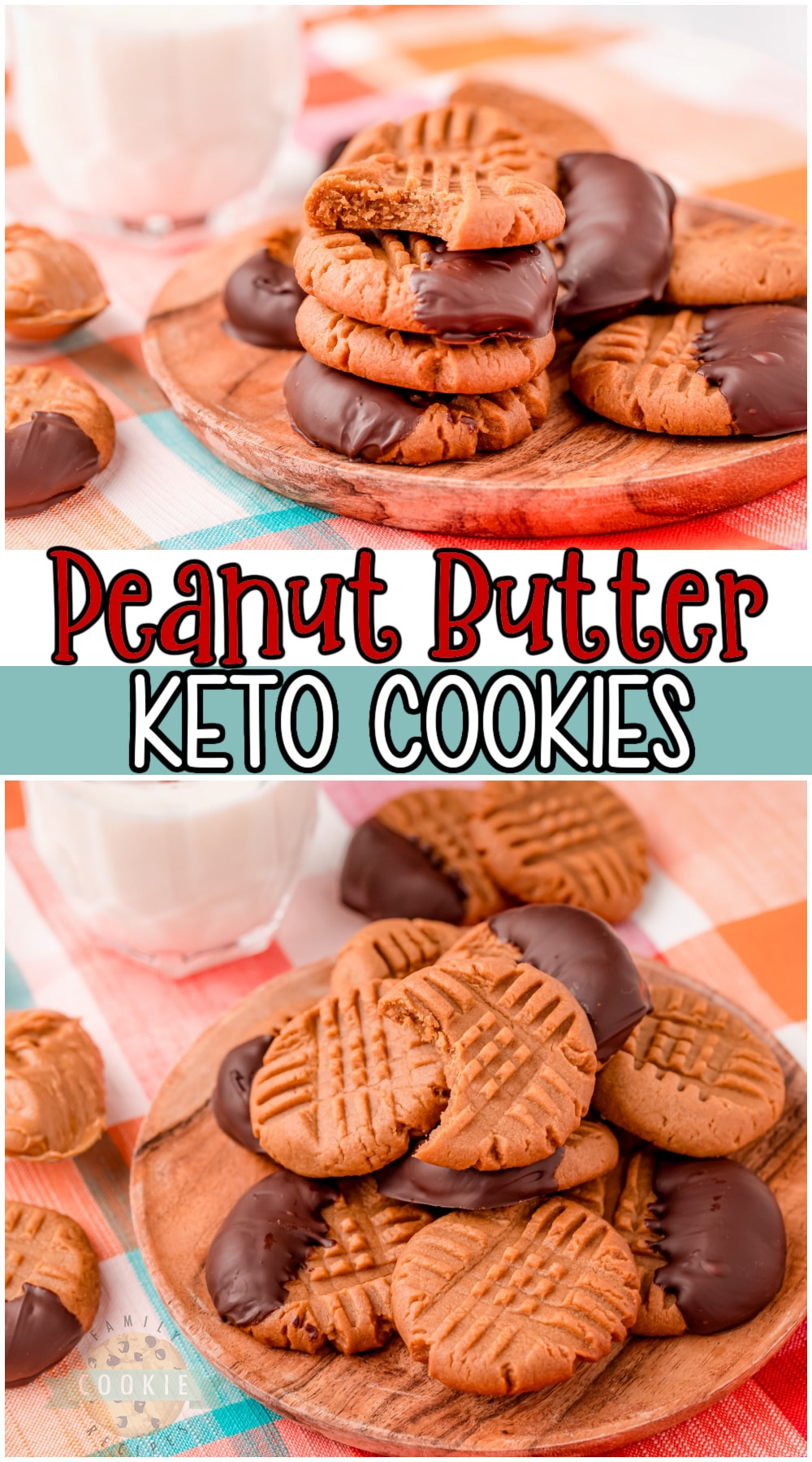 Easy keto peanut butter cookies recipe made with low sugar, creamy peanut butter, and dipped in dark chocolate. Great peanut butter flavor that's satisfying & won't derail your health goals! #keto #cookies #peanutbutter #baking #lowcarb #easyrecipe from FAMiLY COOKIE RECIPES via @buttergirls