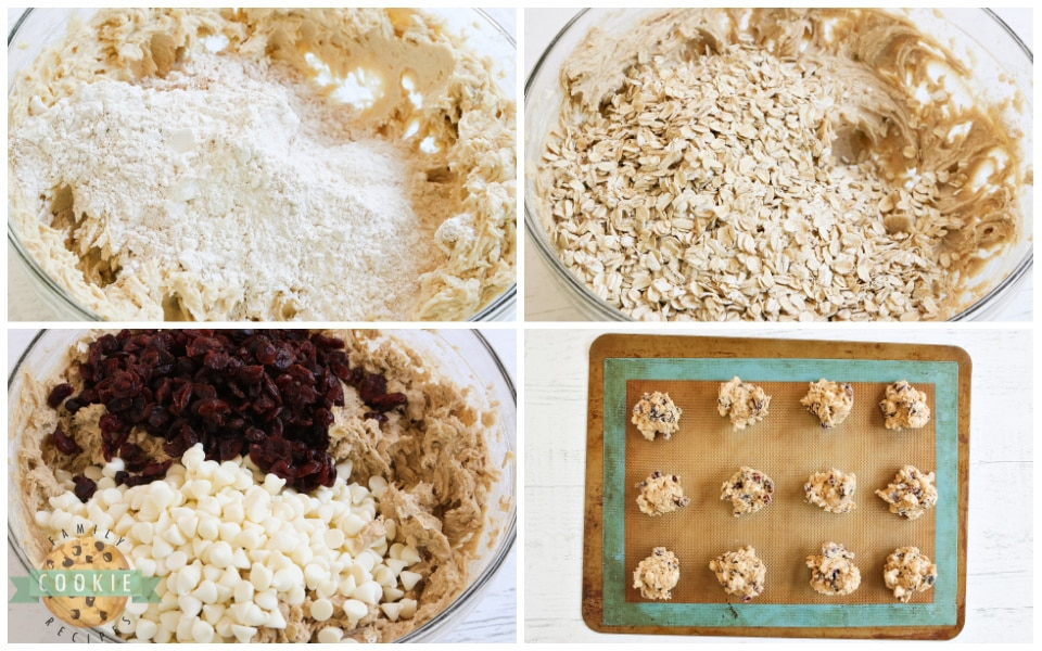 Step by step instructions on how to make White Chocolate Cranberry Oatmeal Cookies