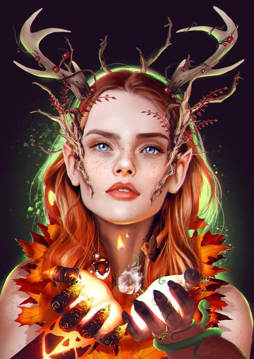 keyleth voxmachina criticalrole elf druid elements natue antlers magic girl redhead redhair vax vex marisharay dnd dungeonsanddragons percy fanart art digitalart digital illustration