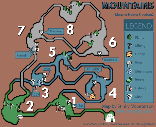 Monster Hunter Freedom 2 Mountains Resource Map  PNG  v1 2     Mountains Resource Map  PNG
