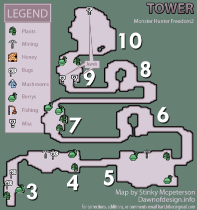 Monster Hunter Freedom 2 Tower 2 Resource Map  PNG  v1 3   Neoseeker     Tower 2 Resource Map  PNG