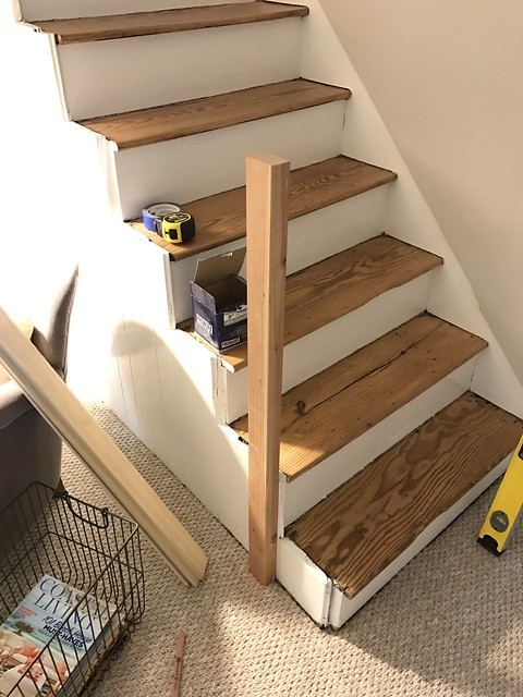 A Newel Post And Handrail Suited For A Back Staircase Old Town Home | Handrail To Newel Post | Fasten | Baluster | White Oak | Glass Balustrade | Landing