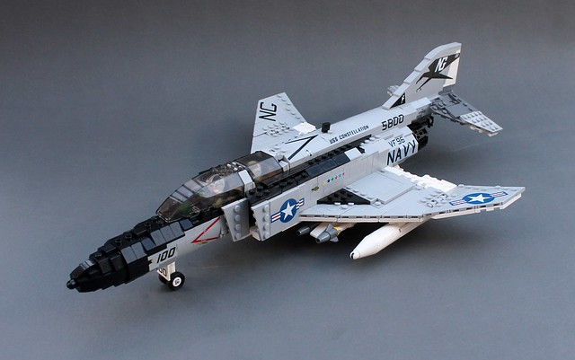 Dominate the skies with this LEGO F4 Phantom   The Brothers Brick     But Evan M seems up to the challenge  presenting this fabulous  minifig scale F 4 Phantom  decked out in US Navy Vietnam era livery