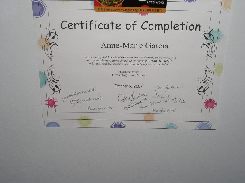 Chemotherapy Completion Certificate