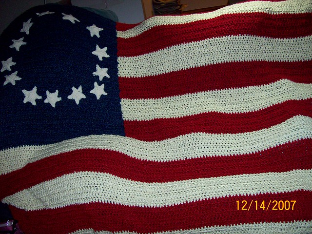Crochet Afghan Pattern American Flag Pillows
