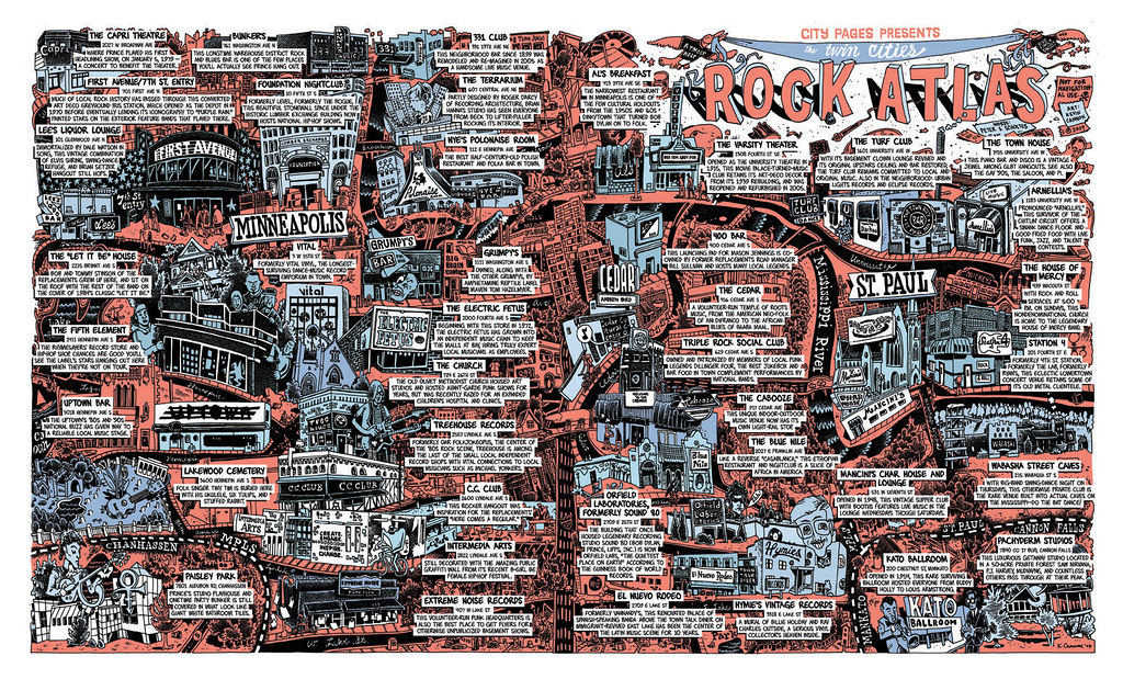Minneapolis rock map   Maga Design Blog Today s MOTD comes to us from the City Paper of Minneapolis and is a comic map  of Rock and Roll landmarks in the area