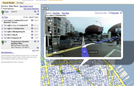 Google Combines Street View and Driving Directions Google Maps and Driving Directions
