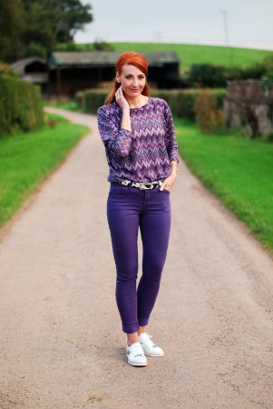 My top 10 Over 40 Fashion Bloggers   A Labour of Life Purple skinnies and top with silver and white brogues   over 40 fashion