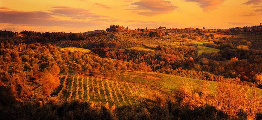 Sunset Over Rolling Tuscan Hills Villa Vineyard Www