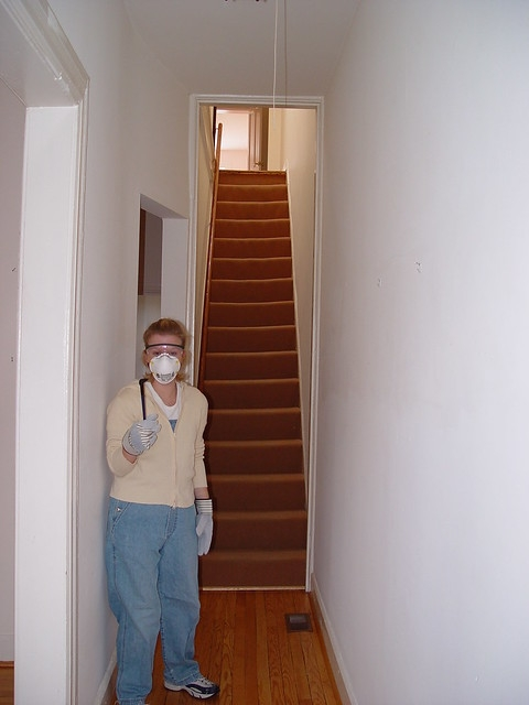 Ask Old Town Home How Should We Handle Our Old Stairs Old | Zig Zag Carpet On Stairs | American Style | Asymmetric Stair | Before And After | Navy Pattern | Grey