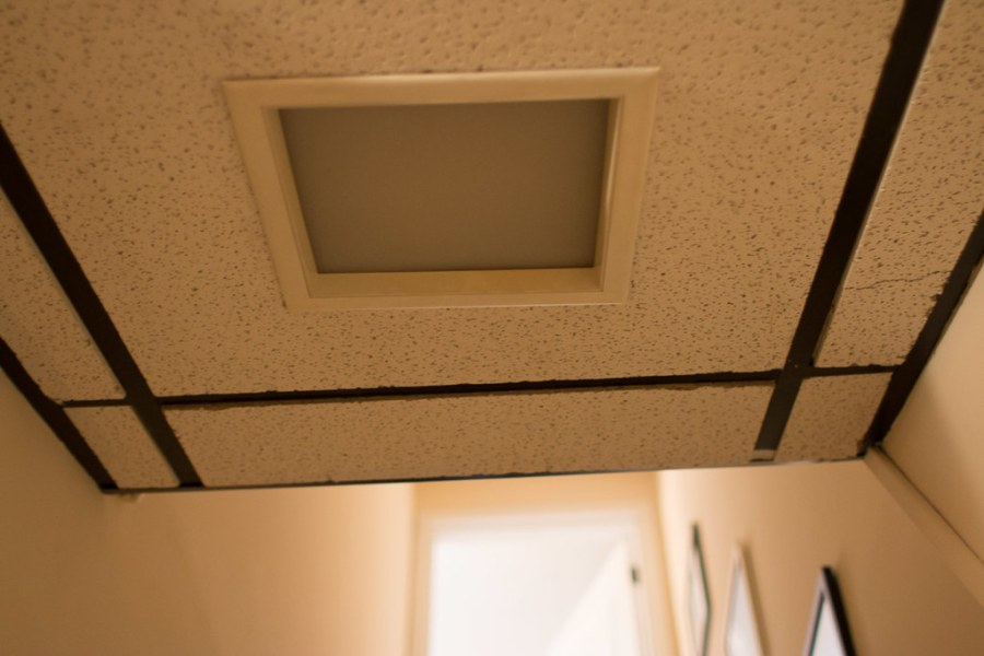 DIY Recessed Lighting Installation in a Drop Ceiling  Ceiling Tiles     Ugly light fixture in drop ceiling