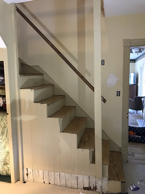 A Newel Post And Handrail Suited For A Back Staircase Old Town Home | 2X4 Railing For Stairs | Solid Wood | 6 Foot | Stairway | Temporary | Natural Hardwood