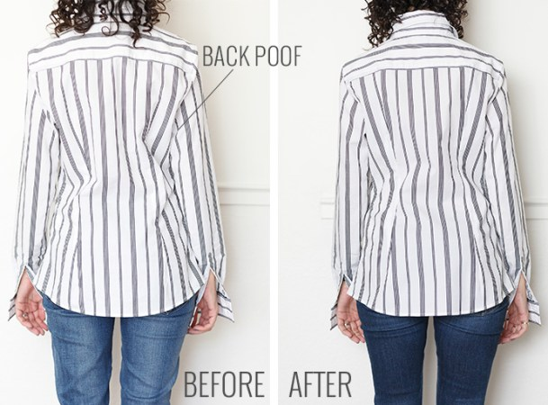 Why Shirts Bunch In Back   An Easy Way To Fix It   Alterations Needed fix shirt bunching back