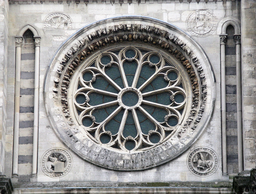 The Rose Window West Front Basilica Of Saint Denis Pari