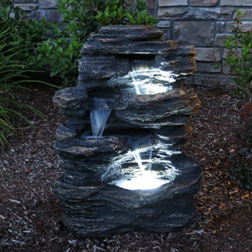 24 Rock Waterfall Garden Fountain W/ LED Lights: Perfect - Patio Misting Fans