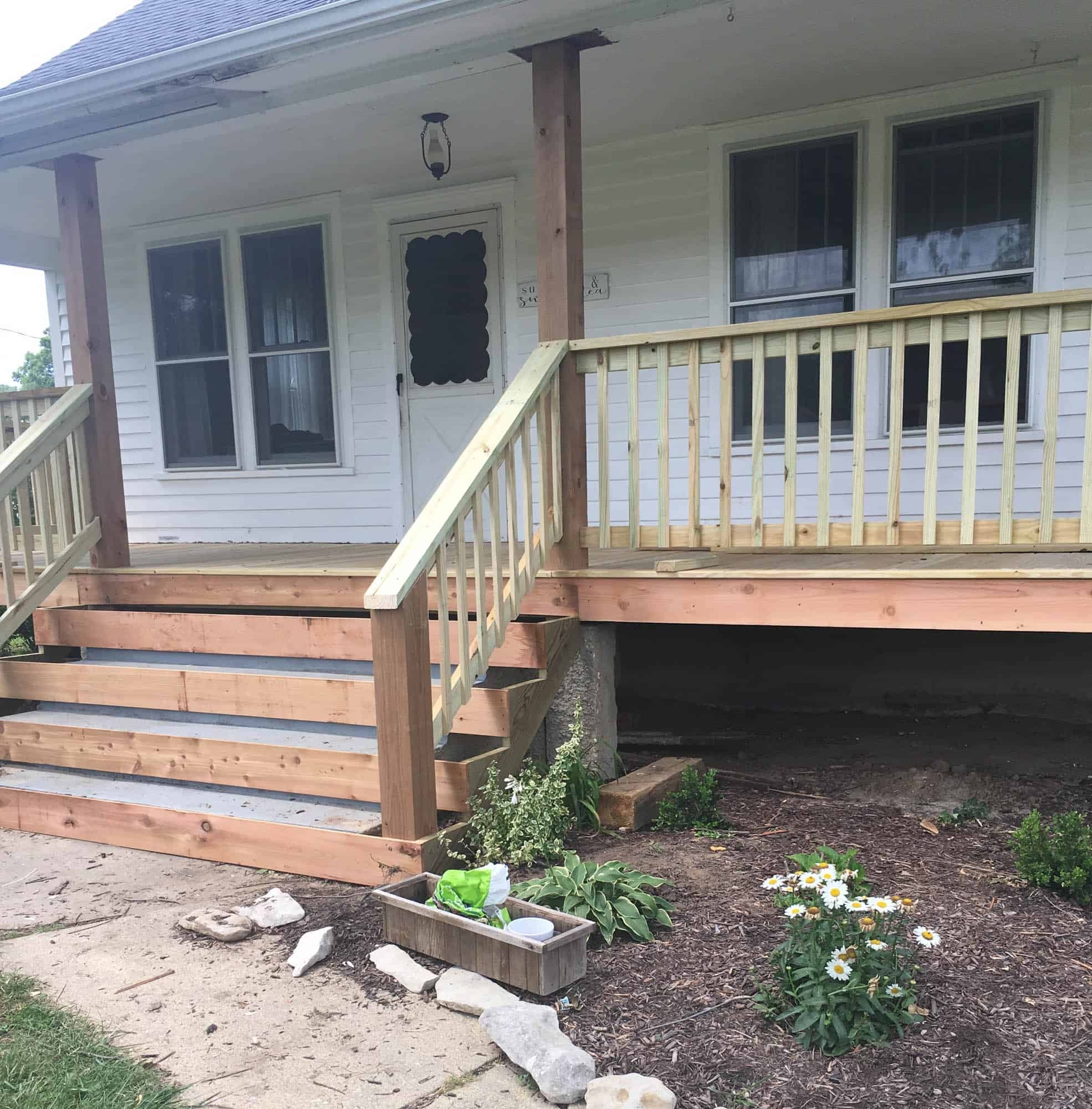 How To Cover Concrete Steps With Wood Farmhouse On Boone   Building Outdoor Steps With Wood   Pea Gravel   Stair Railing   Porch Steps   Composite Decking   Hillside