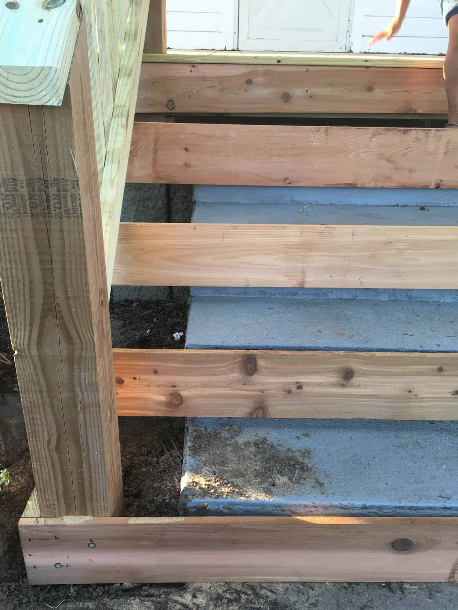 How To Cover Concrete Steps With Wood Farmhouse On Boone | Premade Wooden Steps For Porch | Cedar Tone | Deck Stairs | Fiberglass | Concrete Stairs | Manufactured Homes