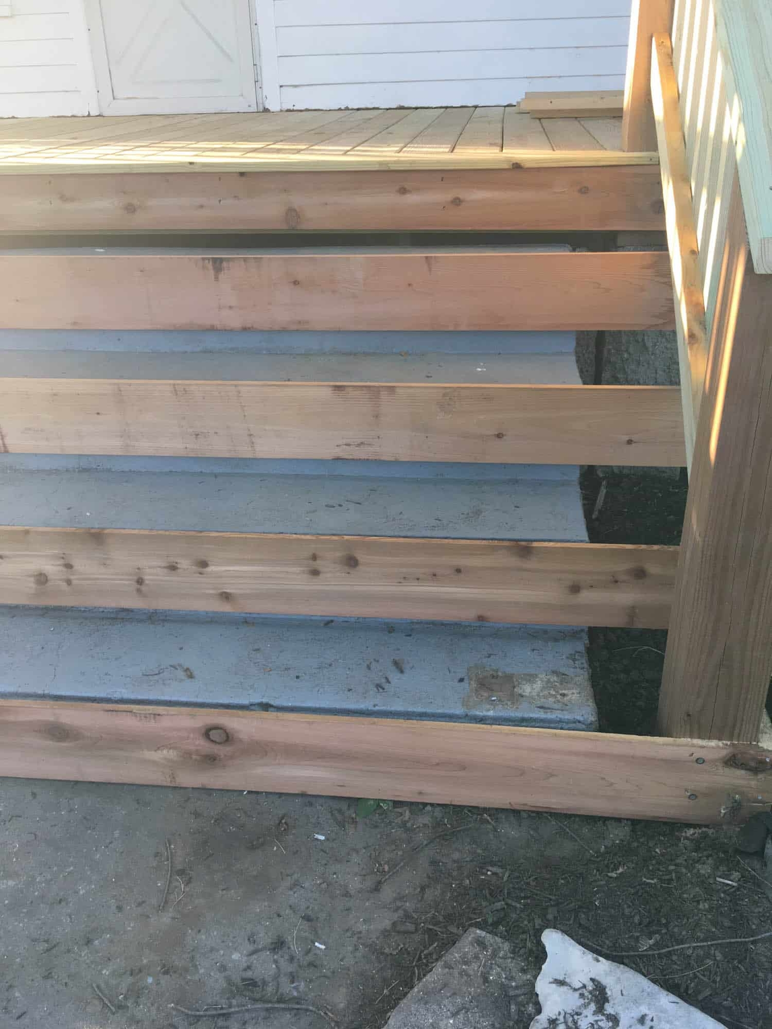 How To Cover Concrete Steps With Wood Farmhouse On Boone | Wood On Concrete Steps | Front Entry | Wood Deck | Clad | Timber Concrete | Above Ground Pool