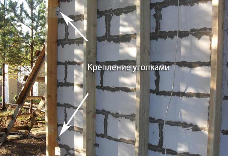 Пример крепления деревянного каркаса уголками