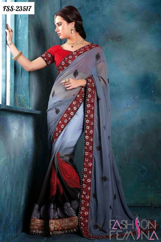 The Most Trendy Designer Embroidery Sarees Collection for ...