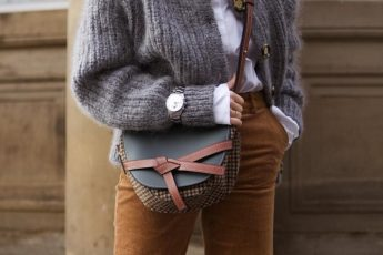 Corduroy-Is-The-Fabric-You-Should-Be-Wearing-This-Winter-brown pants grey sweater