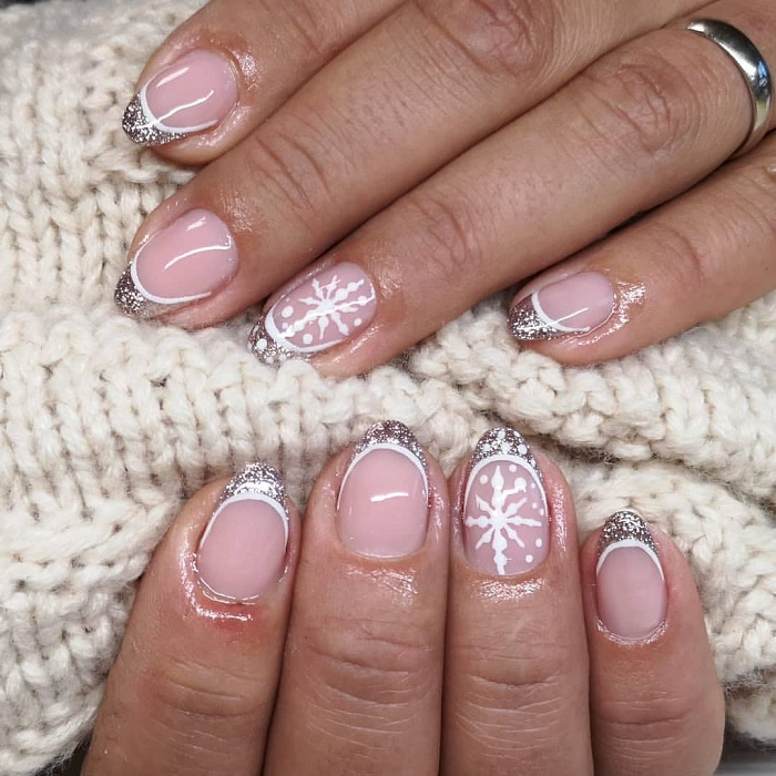 The Trendiest French Manicure Inspo For Winter white sparkle silver